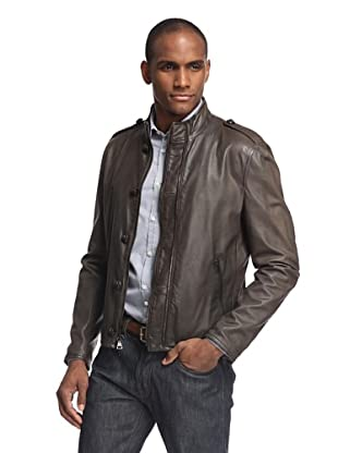 John Varvatos Collection Men's Double Zip Button Closure Leather Jacket with Epaulettes (Coffee)