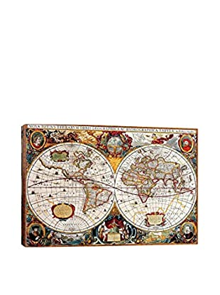 Antique-Inspired Double Hemisphere Map Of The World (Hondius, Henricus C 1630) Gallery Wrapped Canvas Print