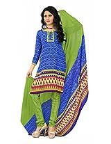 Khushali Presents Georgette Chudidar Dress Material(Blue,Green)