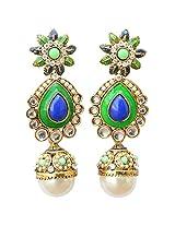 Foppish Mart Stunning Royal Blue & Green Pearl Party Danglers For Women