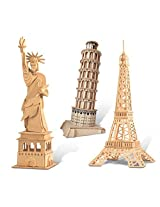 Puzzled The Statue Of Liberty, Eiffel Tower and Leaning Tower of Pisa Wooden 3D Puzzle Construction
