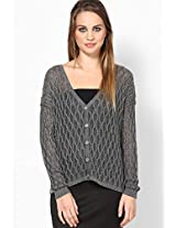 Glittery Cable Cardigan Sweater