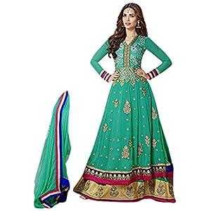 Esha Gupta In Gorgeous Designer Cyan Long Anarkali Suit