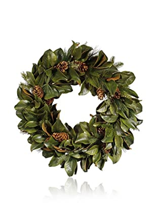 Winward Magnolia Leaf and Cone Wreath, Large