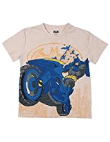 Bio world Boys' Round Neck Batman Tween Cotton Half Sleeve T-Shirt Oatmeal Melaange [8903346242047] -(13-14 years )
