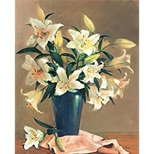 ART PAINTING - White Lilies in a blue glass vase flowers floral Fine art print realism