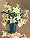 White Lilies in a blue glass vase flowers floral Fine art print realism still