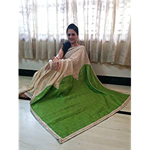 SevenFolds Cream Silk Cotton Designer Saree