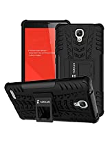 TARKAN Hard Armor Hybrid Rubber Bumper Flip Stand Rugged Back Case Cover For Xiaomi Redmi Note 3G/4G [BLACK]