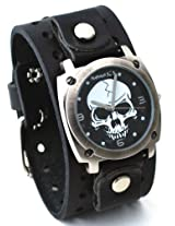 Nemesis #B926K Men's Gun Metal Skull Dial Wide Leather Cuff Band Watch