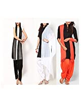 Ashmita cotton set of Patiyall & Dupattas-Orange,Black,White-FS