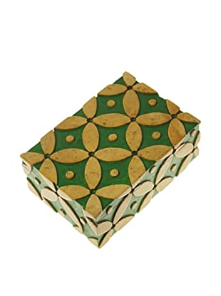 The Niger Bend Rectangular Soapstone Box with Interlocking Circle Design