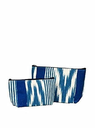 RockFlowerPaper Ikat Stripe Navy Zip Bags (Set of 2)