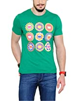 Yepme Men's Green Graphic Cotton T-shirt -YPMTEES0246_L