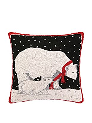 Peking Handicraft Polar Bear Throw Pillow, Black/White/Red