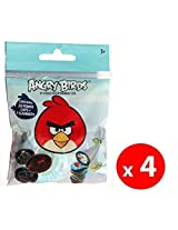 (4 Packs) Angry Birds Pogs Power Caps Tazos 2 Player Starter Set Game Includes 80 Pogs & 8 Slammers