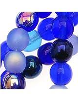 Beadaholique 50-Piece Czech Glass Druk Round Tones Mix Beads, 6mm, Blue