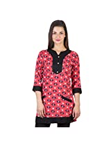 Ayaany Printed Pink Cotton Casual KURTI for Women