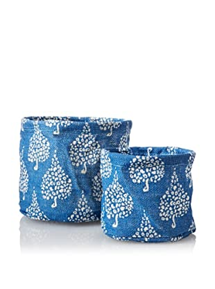 rockflowerpaper Set of 2 Jute Potted Plant Covers (Blue)