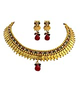 Unicorn's Traditional Gold Plated Temple Design Necklace Set with Earrings - UETMPL003WRG