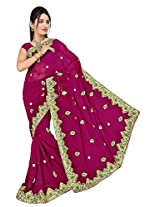 Chinco Embroidered Saree With Blouse Piece (401-B_Maroon)