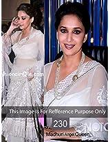 Madhuri Dixit Net White Bollywood Style Saree
