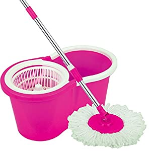 "URVI Magic Spin Mop 360° Rotating Pole & Bucket ""No Foot Pedal"" with 2 Microfiber Heads and stainless steel dryer (Random color)"
