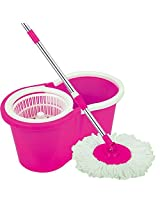 """URVI Magic Spin Mop 360° Rotating Pole & Bucket """"No Foot Pedal"""" with 2 Microfiber Heads and stainless steel dryer (Random color)"""