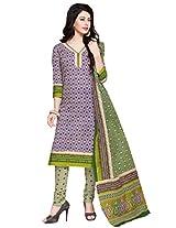 Salwar Studio Green & Blue & Cream Cotton Dress Material with Dupatta SHIMAYAA-1203