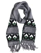 Diesel Banner Knit Scarf Wool Blend Grey, Black, White, Green