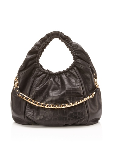 BE&D Women's Cosette Croc Embossed Leather Hobo (Onyx)