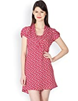 Ayaany Multi Polyester Dress for Women (Size: Small)