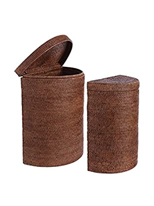 Napa Home & Garden Set of 2 Rattan Laundry Half Moon Baskets, Brown