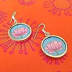 Pink lotus on blue small earrings