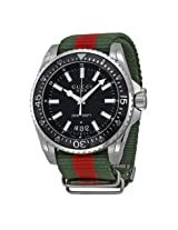 Gucci Dive Black Dial Red and Green Nylon Men's Watch (YA136206)