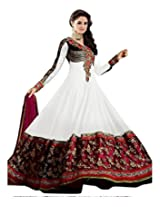 Clickedia Women georgette S291-white suit - Dress Material