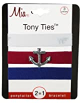 Mia Tony Ties with Charms, White, Red with Anchor, Navy Blue