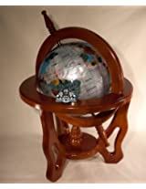 Unique Art 18-Inch by 9-Inch Pearl Swirl Ocean Gemstone World Globe with Mahogany Finish Wood Frame