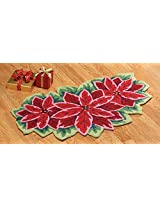 Festive Poinsettia Christmas Accent Rug