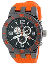Joshua & Sons Men's JS55OR Silver-Tone Metal Watch with Orange Silicone Band