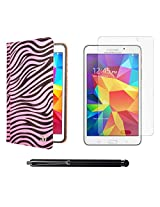 VG Zebra Print Mary Portfolio Multi Purpose Book Style Slim Flip Cover Case for Samsung Galaxy Tab4 T330/T331 8.0 (Pink) + Matte Screen + Stylus