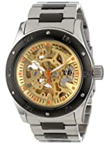 Akribos XXIV Men's AK477TTB Premier Skeleton Automatic Black Two-Tone Stainless Steel Bracelet Watch