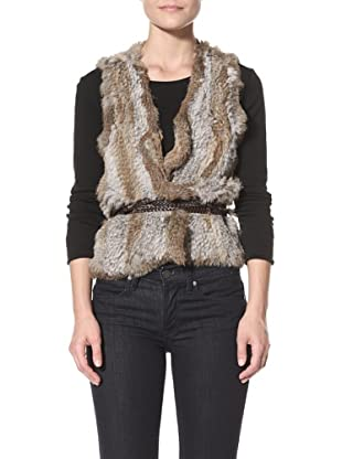 525 America Women's Stripped Vest Sweater (Grey/Natural)