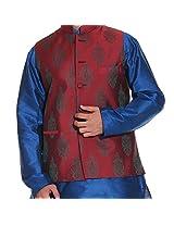Tag 7 Men's Silk Blend Kurta Pyjama With Jacket Set (BLUE_Blue_42)