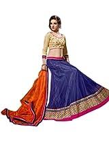 Vibes Women's Net Straight Fit Unstitched Lehenga Choli (L1-8003_Blue)