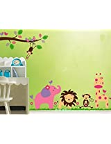 Jungle Animals Giraffe Lion Monkey Elephant Wall Stickers Kid Room Decor