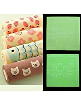 Double Sided Silicone Painting Cake Rolling Fondant Mat (Color/ Pattern: Green/ Strawberry,plum flower,fish,bear)