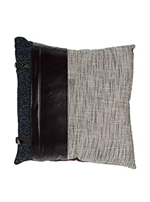 Cloud 9 Leather & Tweed Throw Pillow, Chocolate