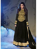 Kajal agrawal captivate black Net semi stitched anarkali suit by fabfiza
