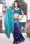 Sky Blue Net and Faux Georgette Brasso Lehenga Style Saree With Blouse